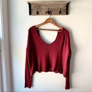 Garage Crop Knit Sweater Maroon Red V-Neck